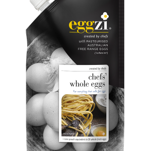 Pasteurised Chefs' Whole Eggs in 1ltr easy pour pack by Eggzi.